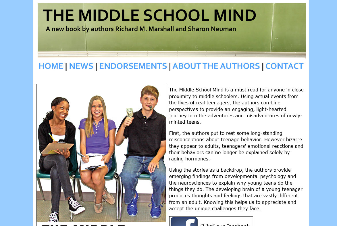 Middle School Mind Book Website Design and Coding